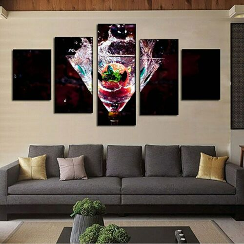 Home Decor 5 PCs Canvas Fresh Summer Cocktail Wall Artwork Picture Decorating