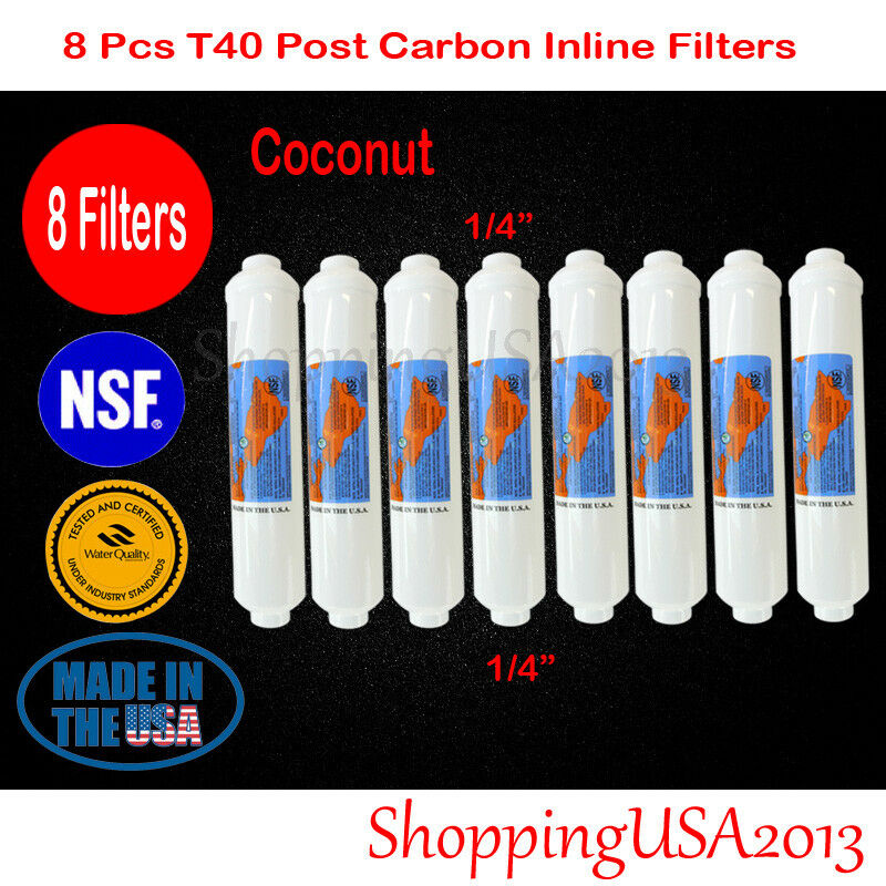 8 Pcs Omnipure T40 Post Coconut Carbon Filter 10X2  RO REVERSE OSMOSIS Water