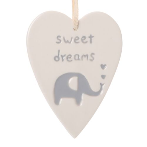 Hanging Ceramic Heart Sweet Dreams with Grey Elephant Baby Gift