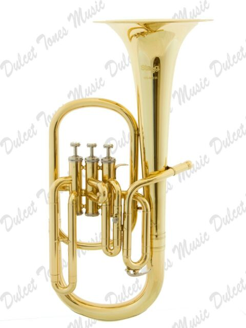 Musical Instruments & Gear Stagg Bb Three Valve Baritone Horn Brass Body Clear Lacquer Finish Fast Postage