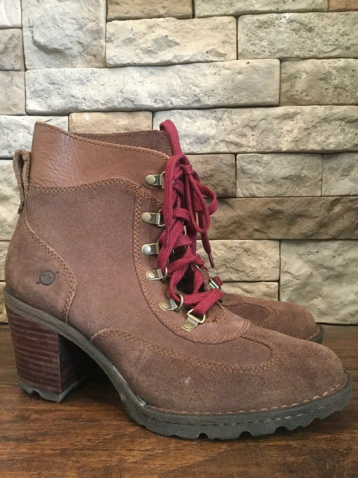 Born Ronnie Chunky Heel Lace Up Boots Stone Womens Size 10