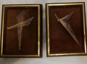 Vintage-1970s-String-Art-Abstract-Framed-Set-of-2-Flight-Up-amp-Mod-Cross-Signed