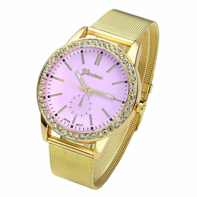 Ladies Fashion Geneva Pink Dial  Stainless Steel Gold Mesh Band Wrist Watch