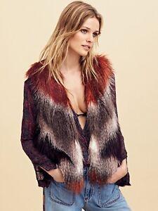 Free-People-Pattern-Faux-Fur-Vest-Size-XS-NEW-MSRP-198-Women