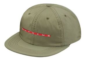 0f7e2d6c4d7 Supreme Chrome Stripe 6 Panel Hat Olive Strapback Cap SS17 Box Logo ...