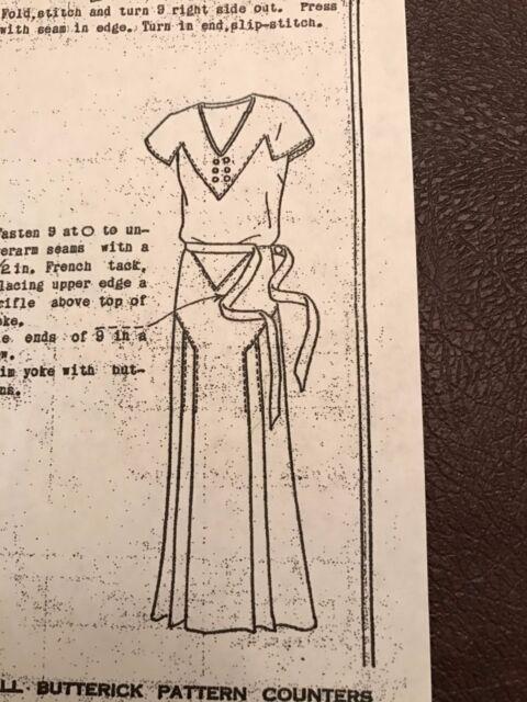Antique Sewing Pattern Butterick 3619 Ladies Dress 1930s Ebay