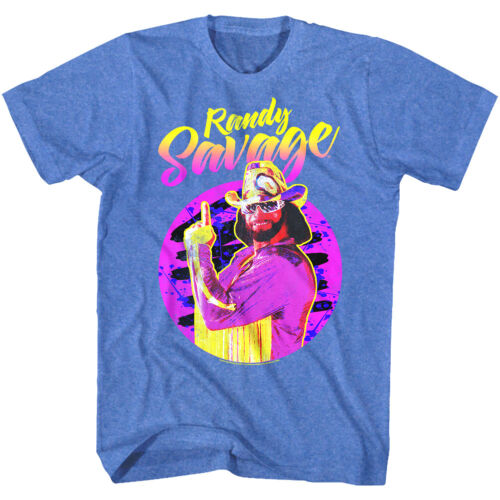Macho Man Randy Savage Neon Portrait Men/'s T Shirt Wrestling Federation Legend