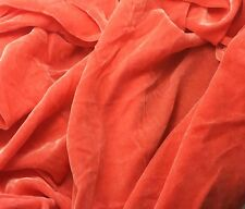 "Silk VELVET Fabric HOT CORAL Orange Pink 6""x22"" remnant"