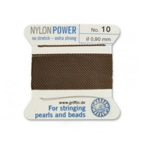 BROWN NYLON POWER SILKY STRING THREAD 0.90mm STRINGING PEARLS /& BEADS GRIFFIN 10