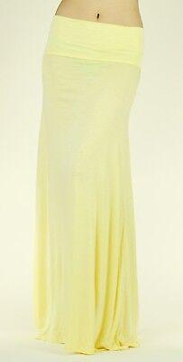 New Light Yellow Women Solid Fold Over Waist Soft Rayon Long Maxi Skirt Reg Plus