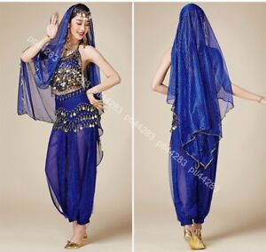 New-Belly-Dance-Sequins-Costume-Bollywood-Indian-Dance-Dress-Party-Top-Pants-Set