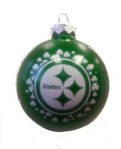 Pittsburgh Steelers Logo NFL Irish Glass Ball Holiday ...