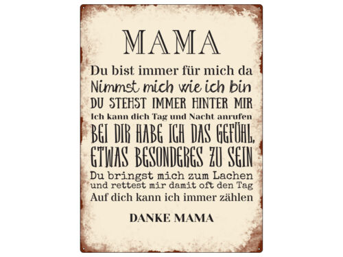 WANDSCHILD Metallschild MAMA DU BIST IMMER FÜR MICH DA Muttertag Geschenk Retro