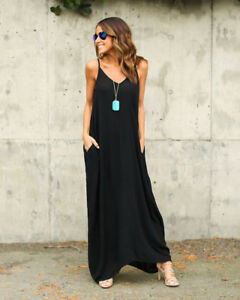 Lady-Boho-Sundress-Oversized-Strappy-Long-Maxi-Casual-Beach-Summer-Dress-Plus