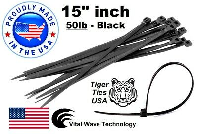 """1000 White 8/"""" inch Wire Cable Zip Ties Nylon Tie Wraps 50lb USA Made Tiger Ties"""