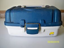 Vintage Plano Fishing Tackle Box Model 6102 EMBOSSED Bass Fish USA 2 Trays