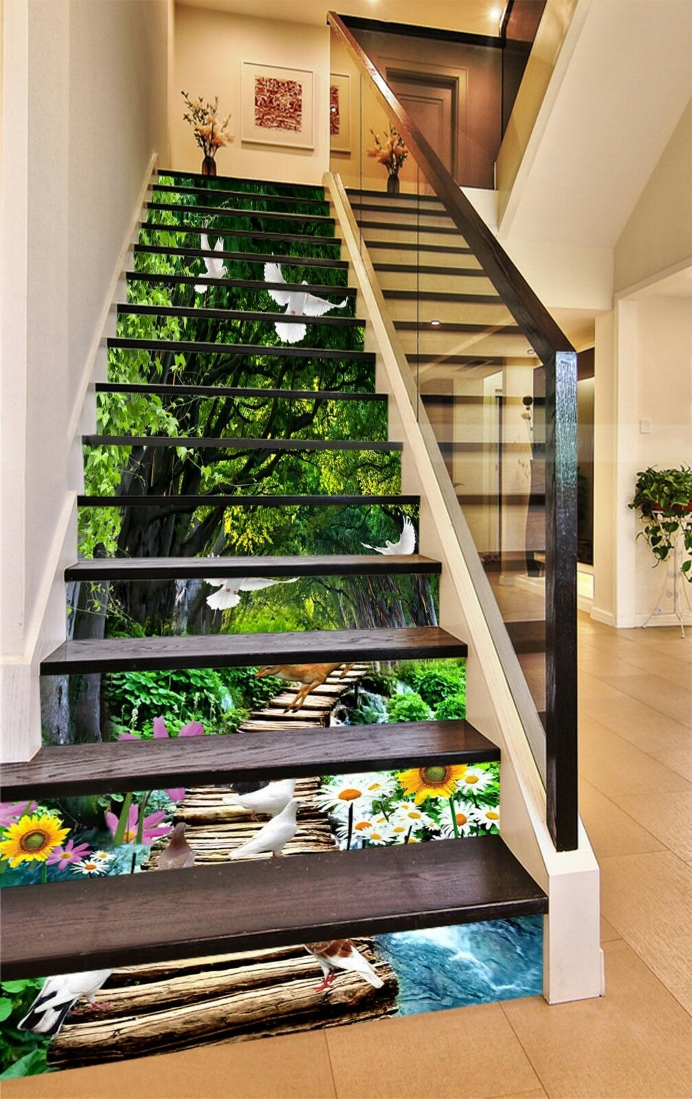 3D bianca Dove Deer Stair Risers Decoration Photo Mural Vinyl Decal Wallpaper CA