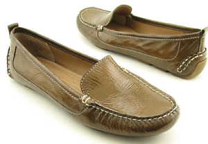New CIRCA JOAN & DAVID Women Bronze Leather Driving Flat Slip On Shoe Sz 6.5 M