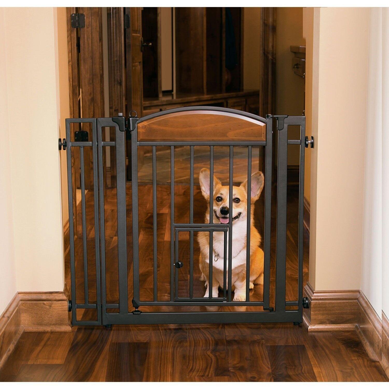 Design Studio Walkthru Gate with Small Pet Door Baby Dog Fence Indoor Safety NEW