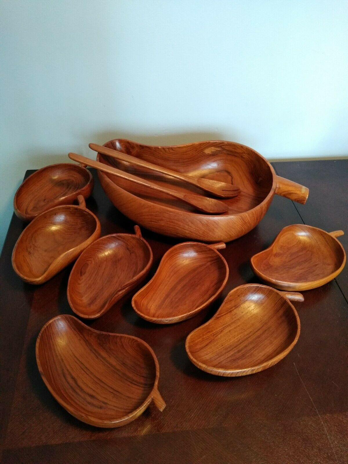 Vintage 10 Pc  Monkey Pod Wood Salad Bowl Serving Set Mid Century Modern