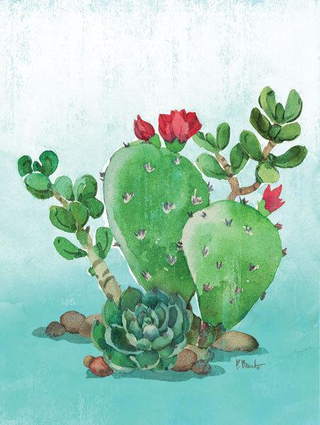 Paul Brent  Cactus IV Keilrahmen-Bild Leinwand Kaktee Sukkulenten Aquarell bunt