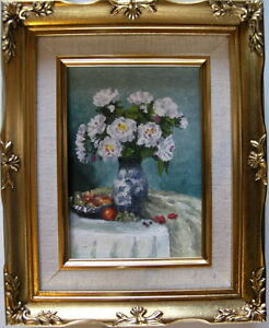 Framed-Oil-Painting-034-White-Flowers-in-a-Vase-2-034-9-x-11-inches