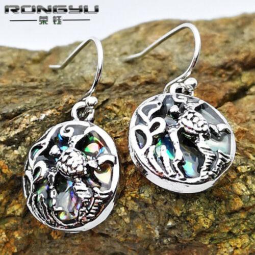 Girl Silver Beach Sea Turtle Dangle Earrings Abalone Shell Fashion Women Jewelry