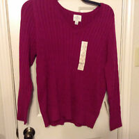 St. John's Bay V Neck 2x And 3x Cable Sweaters In 2 Colors