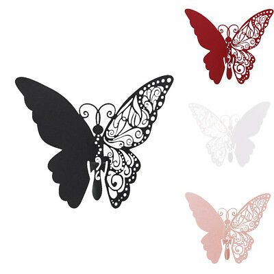 FA 50Pcs Butterfly Place Name Cards Laser Cut Glass Wedding Party Table Decor E