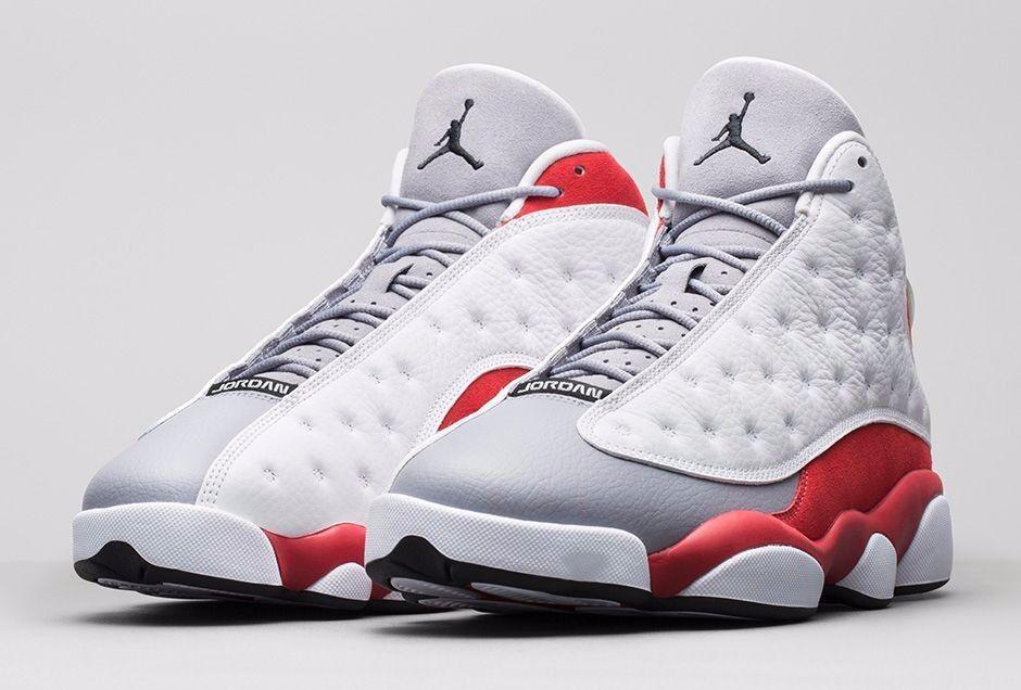 Uomo nike air jordan grey il 13 - bianco - rosso & grey sz autentico