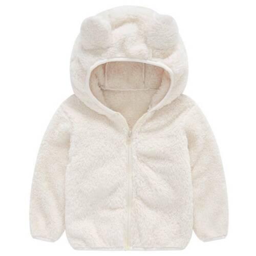 Toddler Boy Girls Baby Warm Fleece Fur Hooded Coat Plush Outwear Snowsuit Jacket