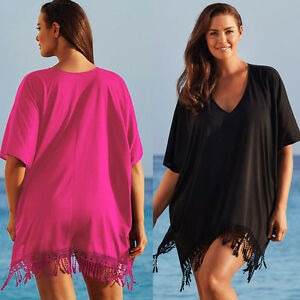 Sexy-Women-Lady-Lace-Kaftan-Bikini-Swimwear-Cover-Up-Beach-Mini-Dress-Plus-Size