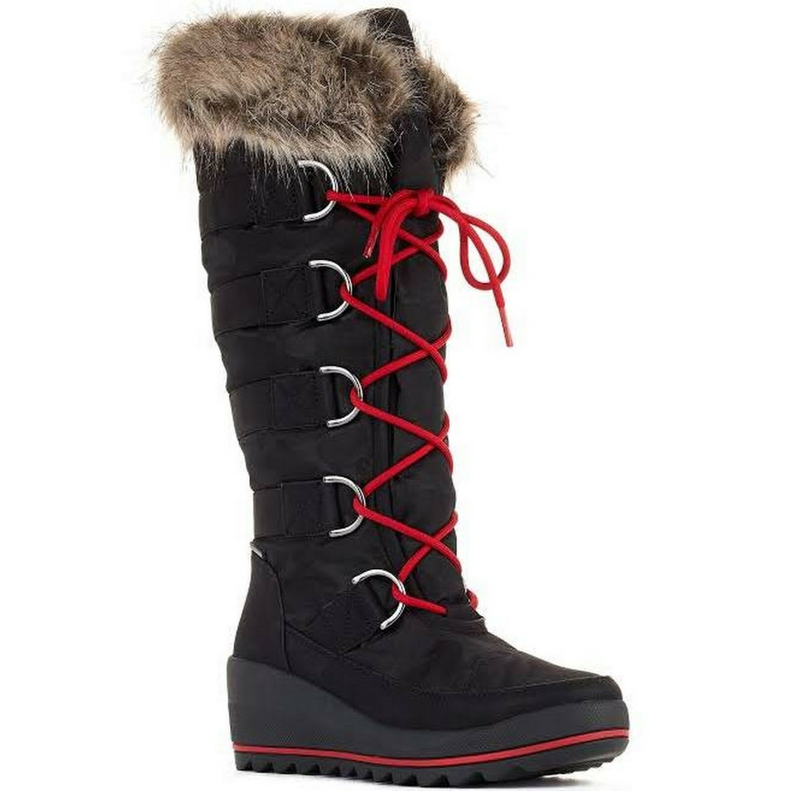 Cougar Lancaster Black Faux Fur Winter Snow Boots Womens Size 6