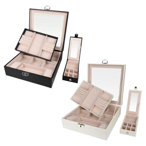 PU Leather Jewelry Organizer Box Mirror 2 Tray Storage Case with Lock for Women