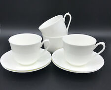 Set of 4 Plain White Fine Bone Contemporary China Cups and Saucers