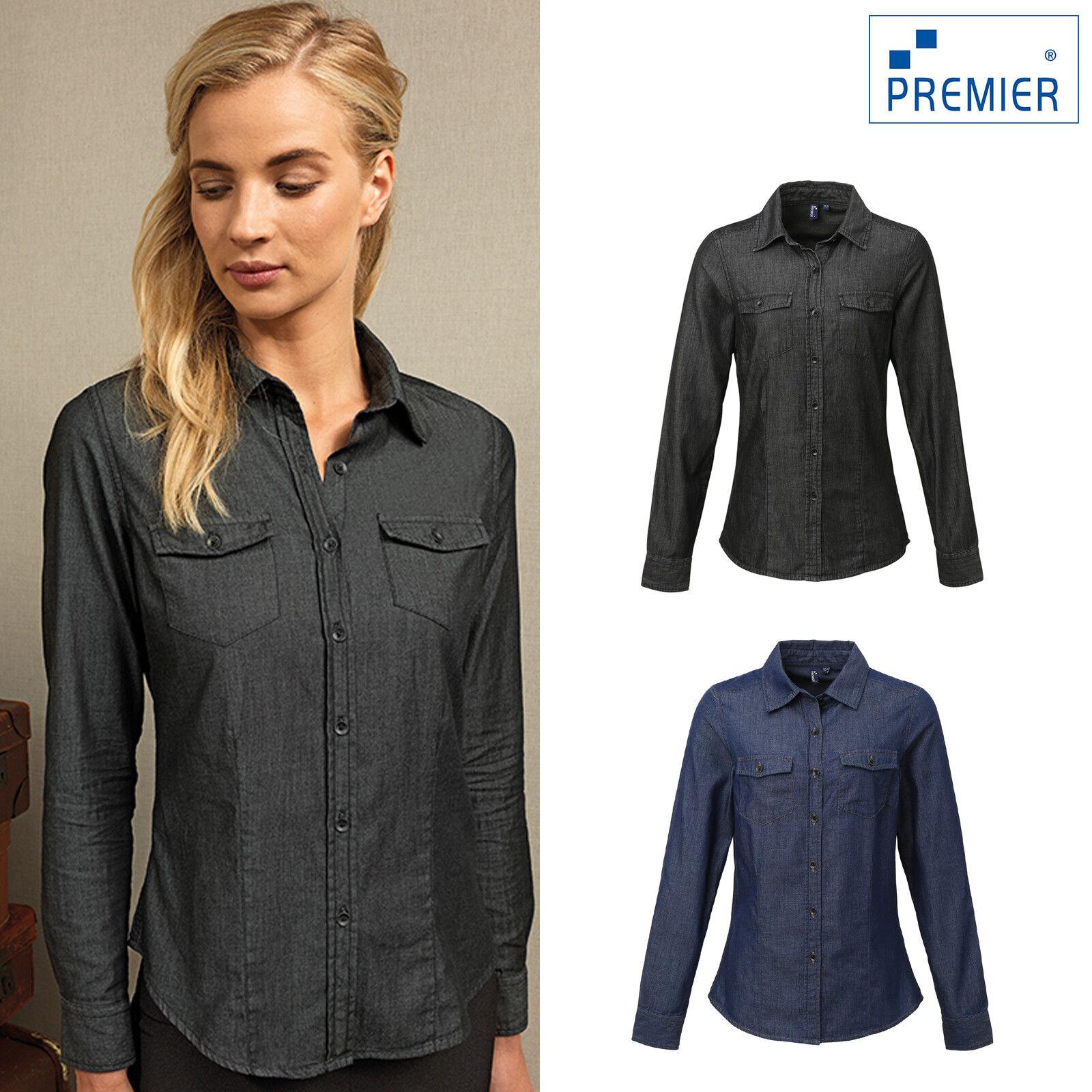 Premier Women's Jeans Stitch Denim Shirt PR322