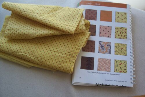 Vtg Antique 1800/'s cotton Fabric Quilt Dress Chrome Yellow Turkey Red Hearts