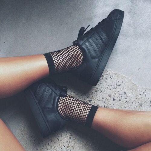 New Women Girls Fishnet Ankle High Socks Mesh Lace Fish Net Short Socks Ruffle