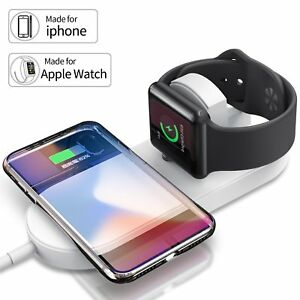 official photos aa10b ccfec Details about Qi Wireless Charger Charging Pad Charge Station for Apple  Watch 2 3 4 iPhone Xs