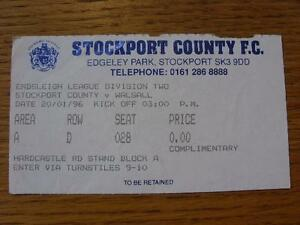 20011996 Ticket Stockport County v Walsall Item In very good condition unles - <span itemprop=availableAtOrFrom>Birmingham, United Kingdom</span> - Returns accepted within 30 days after the item is delivered, if goods not as described. Buyer assumes responibilty for return proof of postage and costs. Most purchases from business s - Birmingham, United Kingdom