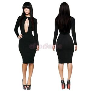 f7526fd8c904 New Sexy Womens Clubwear Cut Out Open Front Bodycon Dress Party Club ...