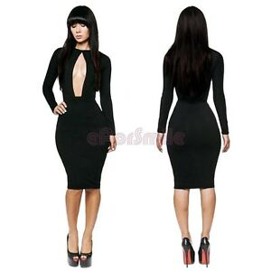 New Sexy Womens Clubwear Cut Out Open Front Bodycon Dress Party Club ... a07c3a7c6