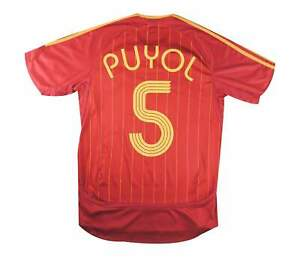 SPAGNA 2006-08 ORIGINALE Maglietta PUYOL #5 (eccellente) S Soccer Jersey
