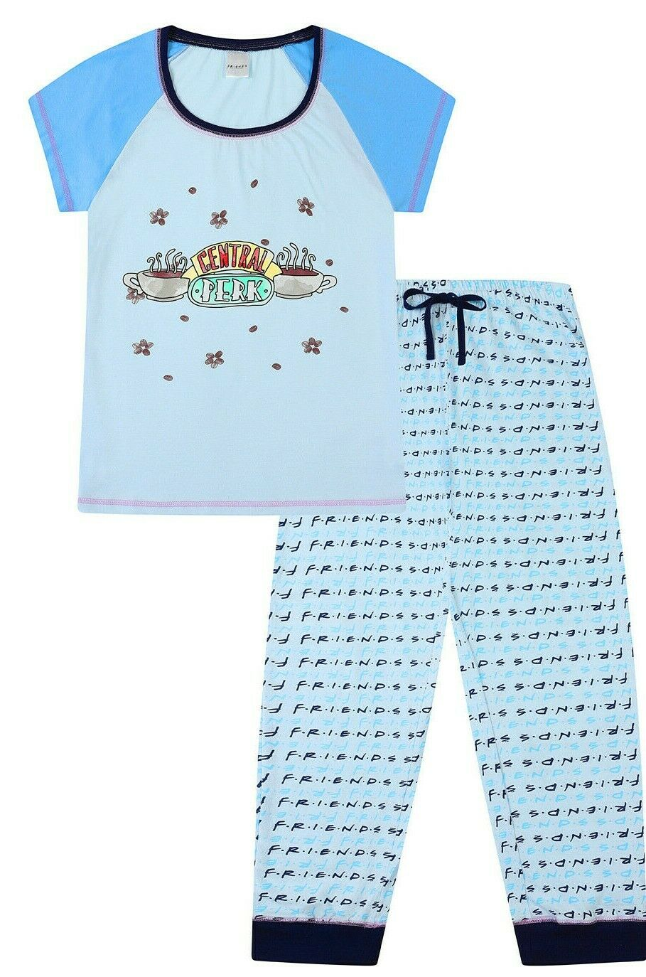 FRIENDS Central Perk Pyjamas for Women's Cafe TV Show Ladies PJ Set Blue