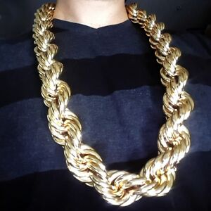 Huge-Mens-14k-Gold-Plated-Chain-Hollow-Rope-Dookie-30MM-x-36-034-Hip-Hop-Necklace