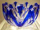 CAESAR CRYSTAL Blue Bowl Hand Cut to Clear Overlay Czech Bohemian Bohemia Cased