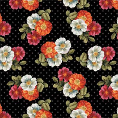 1 y Garden View Floral Anemone Black   Wilmington Cotton Fabric    Bfab
