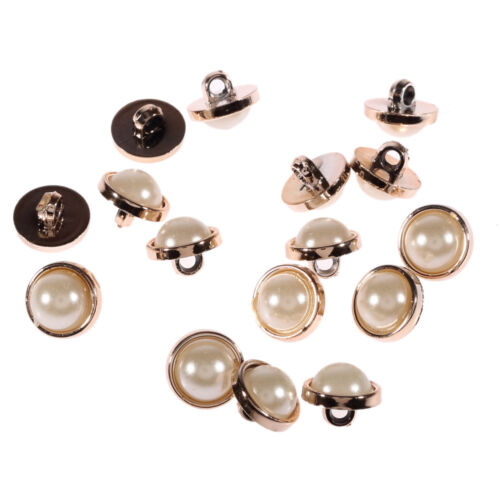 APB01 Acrylic Pearl Buttons Light Gold Rim Round Sew on Beads Dress Making