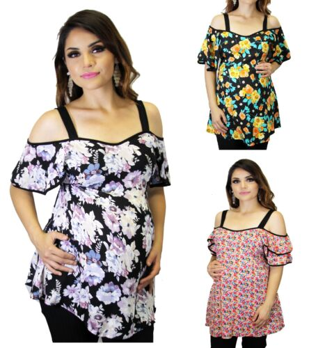 Floral Maternity Short Sleeve Top Lily Black Yellow Pink Babyshower