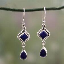 925 Silver Long Blue Lapis Dangle Hook Earrings Drop Bridal Wedding Jewelry